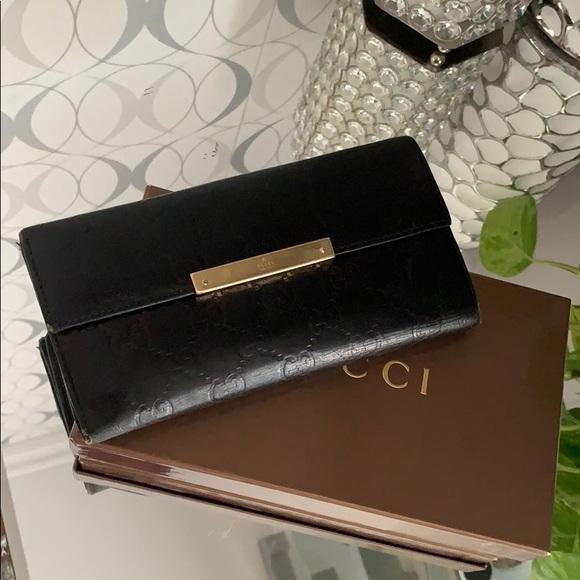 Gucci Handbags - Gucci GG Guccissima Black Leather Wallet